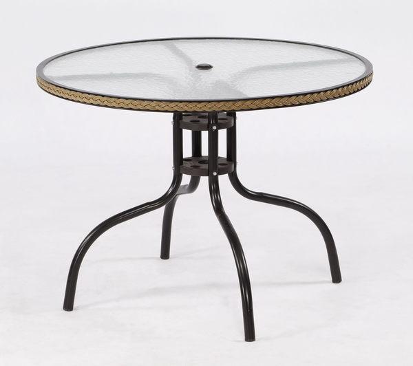 【南洋風休閒傢俱】戶外休閒系列-90CM半鋁編藤玻璃圓桌 戶外休息餐桌 咖啡桌(TC90)