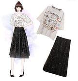 促銷價不退換原創實拍中大尺碼套裝XL-4XL/32176/新款時髦圓領卡通字母洋氣T恤網紗半裙套裝