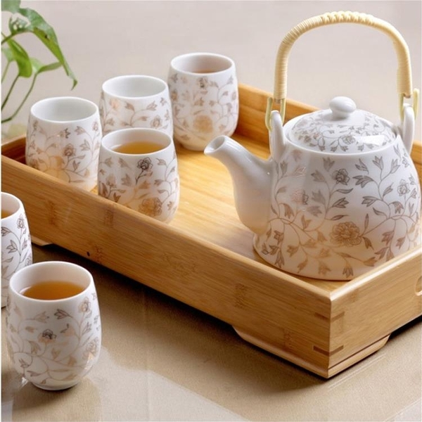 茶具 送竹托 景德鎮陶瓷茶具套裝家用整套功夫現代簡約茶壺茶杯子6只裝 西城故事