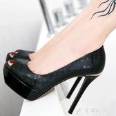 現貨出清魚嘴高跟鞋細跟防水春黑色性感百搭12cm職業單鞋女