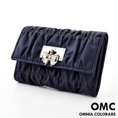 OMC - 可愛貴婦蝴蝶結抓皺牛皮中夾 - 休閒牛仔藍