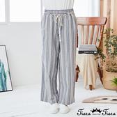 【Tiara Tiara】百貨同步新品ss 鬆緊腰綁帶條紋長褲(灰)