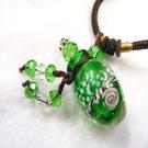 【Ruby工作坊】NO.24G綠精油雕花瓶中國結項鍊