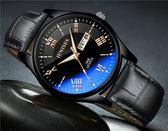 超薄時尚潮流手錶男士皮質帶正韓男表防水學生石英表夜光腕表 全館八八折鉅惠促銷HTCC