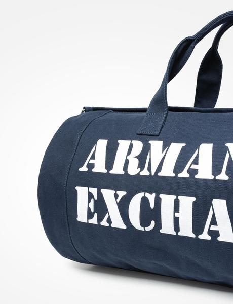 美國代購 現貨 AX ARMANI 經典款LOGO 海軍藍 附背帶 大型 圓筒包