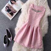 無袖洋裝  2018夏裝新款韓版收腰修身無袖背心公主裙連身裙