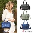 beside u BEC 未來光感金屬風波浪圖騰手提包側背包兩用包-黑色、藍色、綠色 原廠公司貨