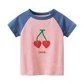 愛心櫻桃圖案短袖上衣 童裝 短袖上衣