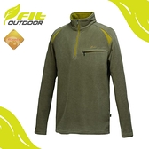 【FIT 維特 男 雙刷雙搖保暖衣《灰綠》】GW1103/保暖上衣/休閒衫/刷毛
