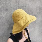 日系棉麻防風繩純色大檐遮陽帽可折疊盆帽