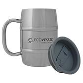 【速捷戶外】美國EcoVessel MUG500SE雙層不鏽鋼酒桶杯500ml(銀色), 啤酒杯 咖啡杯