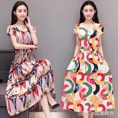 中老年女裝連身裙大碼修身媽媽裝短袖棉綢印花長裙子     琉璃美衣