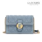 側背包 神秘日月圖騰菱格紋方包 煙灰藍-La Poupee樂芙比質感包飾 (預購+好禮)