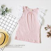 純棉 甜美點點雪紡荷葉袖背心 夏天 無袖 上衣 粉色 氣質 甜美 韓版 女童 哎北比童裝