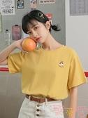 寬松學生百搭短袖t恤韓版上衣休閒打底衫【聚可愛】