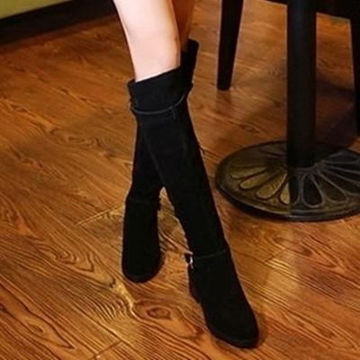 長靴-舒適低跟時尚率性磨砂真皮女過膝靴2色71ab9【巴黎精品】