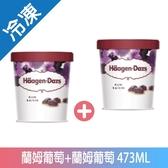 哈根達斯藍姆葡萄+藍姆葡萄冰淇淋473ML【愛買冷凍】