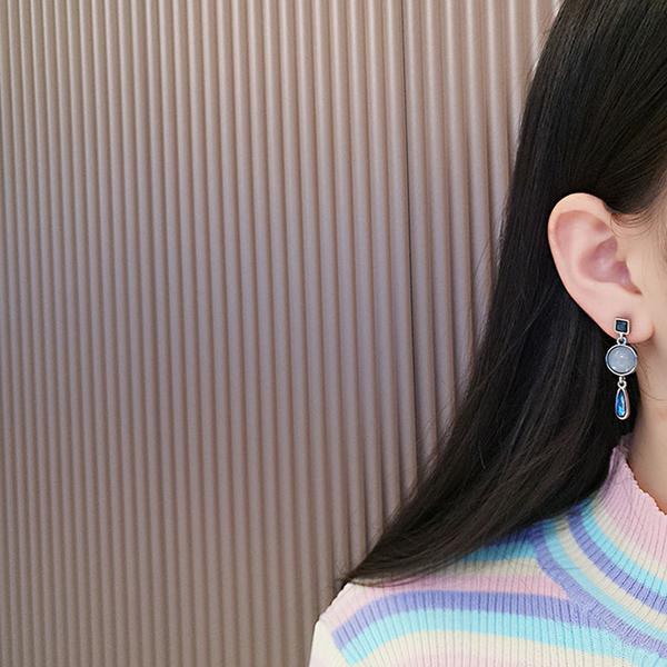 耳環 簡約 幾何 寶石 水晶 圓形 水滴 吊墜 氣質 耳釘 耳環【DD1907114】 BOBI  09/19