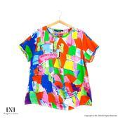 【INI】限量發售、日本原單剪裁花布舒適上衣.綠色