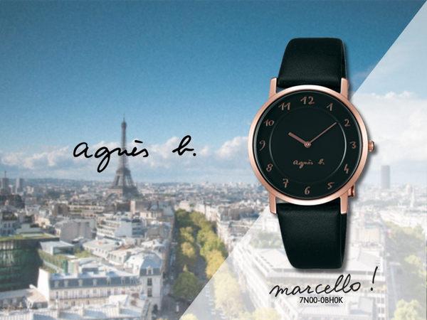 【時間道】agnes b. marcello!經典設計師手寫系列腕錶/黑玫瑰金黑皮(7N00-0BH0K/BU9023P1)免運費