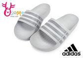 adidas 防水拖鞋 成人男女款 情侶 足弓舒適超輕量經典三條線logo拖鞋O9327#灰色◆OSOME奧森鞋業