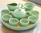 茶具 玻璃功夫茶具套裝家用整套陶瓷泡茶壺自動小茶盤簡約茶臺蓋碗【快速出貨八折下殺】