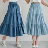 MIUSTAR 鬆緊蛋糕傘襬仿天絲牛仔長裙(共2色)【NH1640】預購