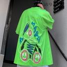 2021情侶歐美寬鬆短袖T恤 塗鴉卡通嘻哈潮牌體恤T恤 街頭潮流印花T恤 男生創意日系中袖T恤