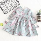 新年刺繡桃花旗袍加絨連身裙 洋裝 童裝