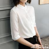 新款白色短袖襯衫女中袖雪紡衫女七分袖職業裝襯衣女顯瘦上衣艾美時尚衣櫥