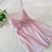 新品性感睡衣女夏絲綢家居服蕾絲花邊吊帶睡裙女冰絲情趣誘惑純色  麥琪精品屋