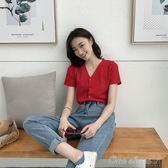 撲啦啦韓風Chic氣質V領短袖針織衫女夏純色簡約寬鬆ins超火上衣薄