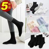 【5雙】長襪棉襪純棉高筒襪純色襪子 莎拉嘿幼