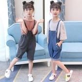 女童夏裝套裝洋氣大童裝女孩夏季兒童牛仔背帶短褲兩件套【聚可愛】