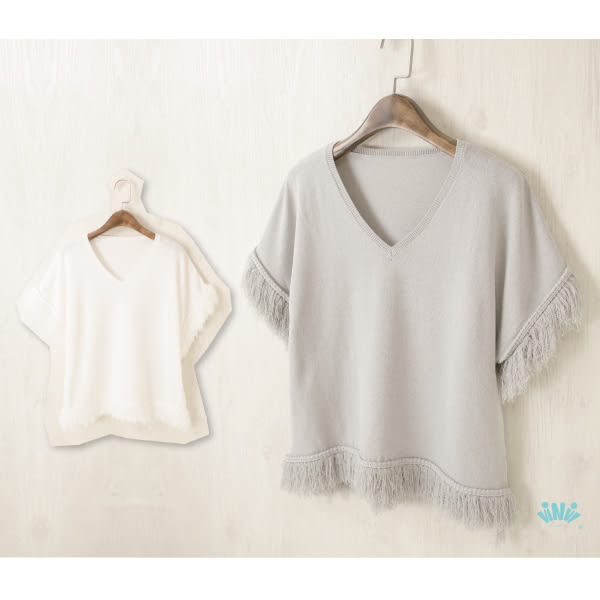 viNvi Lady 民族風流蘇亞麻短袖針織上衣 短袖T恤