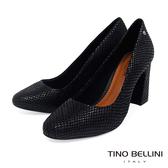 Tino Bellini巴西進口神祕蛇紋牛皮高跟鞋_黑 TF8520 歐洲進口款