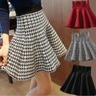 秋季新款學生半身裙子女a字蓬蓬裙顯瘦高腰裙短裙百褶裙黑色格子 小宅女