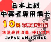 (插卡即用) 10天日本上網中毒者專用高速4G不降速吃到飽方案/日本網卡吃到飽/日本網路卡