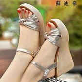 【全館8折】坡跟涼鞋女鬆糕厚底休閒女涼鞋