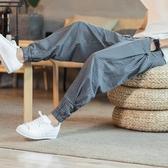 中國風亞麻男褲子復古夏季寬鬆哈倫褲男士棉麻休閒褲男裝束腳長褲 後街五號