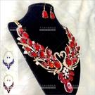 豪華天鵝   歐美新娘項鍊套組-耳環(耳針式)[53436]尾牙舞台宴會飾品
