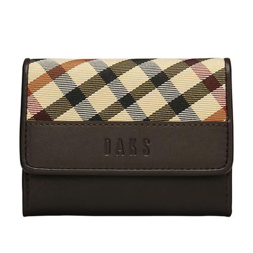 DAKS 經典斜格紋皮革壓扣式零錢包(咖啡色)230126-02
