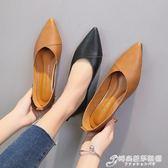 春秋季新款簡約平底平跟軟底小皮鞋尖頭淺口黑色工作鞋女單鞋 時尚芭莎