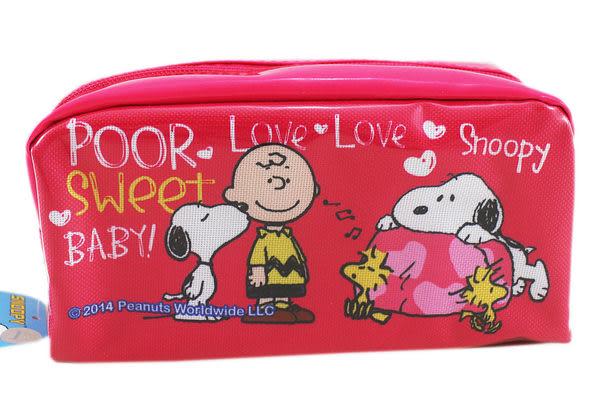 【卡漫城】Snoopy 大容量 桃色 化妝包 ㊣版 史奴比 史努比 筆袋 收納包 旅遊包 Woodstock 糊塗塔克