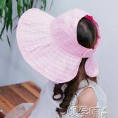 女童遮陽帽夏防曬帽女童帽子沙灘帽寶寶空頂帽女童太陽帽 【熱賣新品】