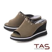 TAS波浪金屬小圓配色厚底楔型涼拖鞋-個性綠