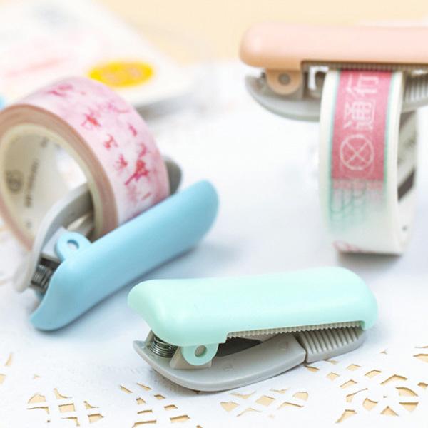 【BlueCat】手帳必備 迷你純白系可夾式和紙膠帶切割器