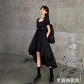 流行洋裝 夏季韓版2020新款暗黑系收腰顯瘦設計感方領大擺短袖洋裝女 米蘭潮鞋館