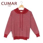 【南紡購物中心】【CUMAR】條紋連帽針織上衣-紅