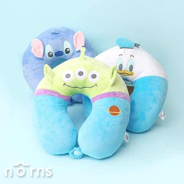 迪士尼U型頸枕 附釦款- Norns正版授權 奇奇蒂蒂 三眼怪 史迪奇 毛怪大眼仔 玩具總動員 抱枕 靠墊